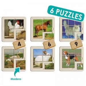 Set puzzle foto - animales granja (6 uds)