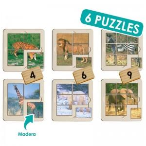 Set puzzle foto - animales selva (6 uds)